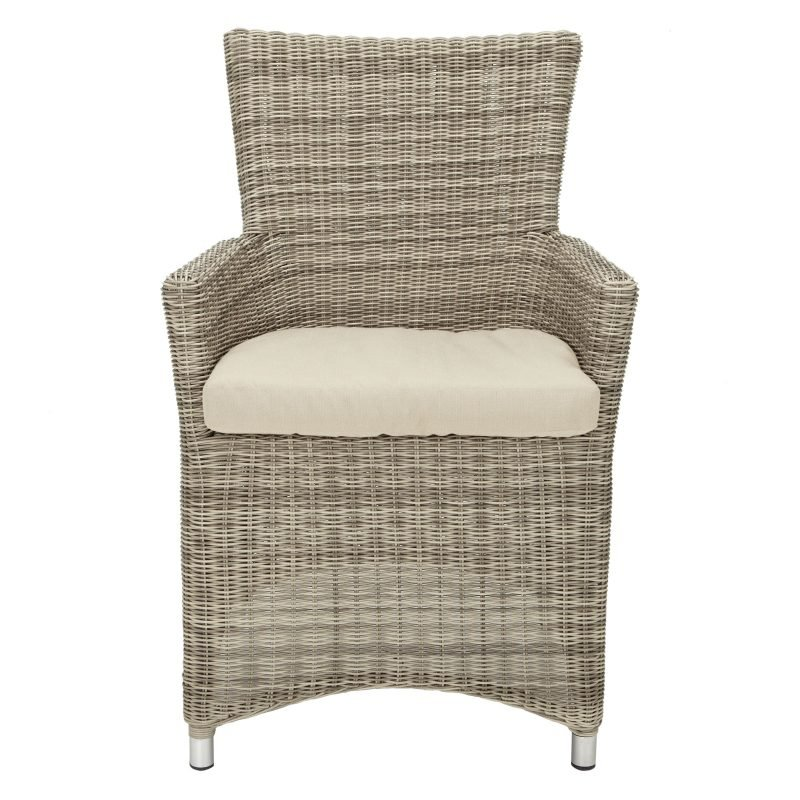 Wicker dining chair with armrests and cushion seat