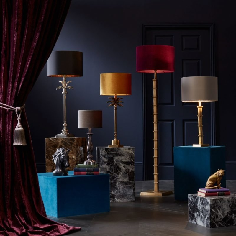 Velvet covered lamp shades