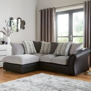 Faux leather and fabric chaise style sofa