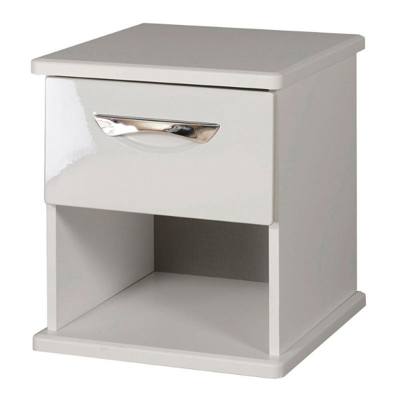 Grey gloss lamp table with drawer