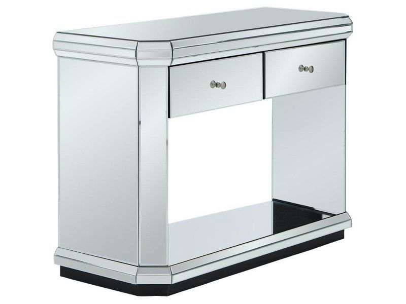 2-drawer mirror finish console table