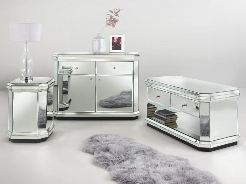 Mirrored sideboard, coffee table and lamp table