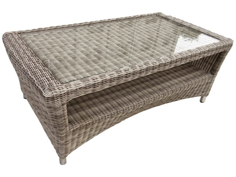 Wicker coffee table with glass top
