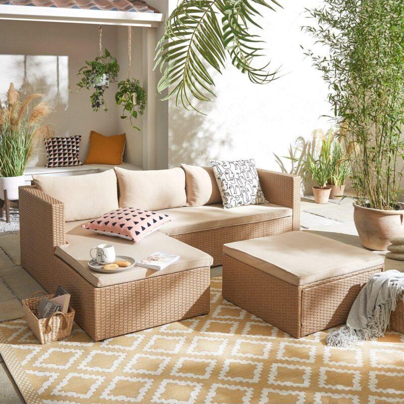 Light rattan outdoor chaise sofa