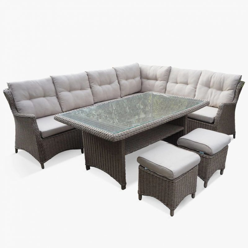 7-piece rattan corner dining set