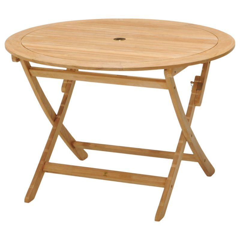 Large round foldable solid wood garden table