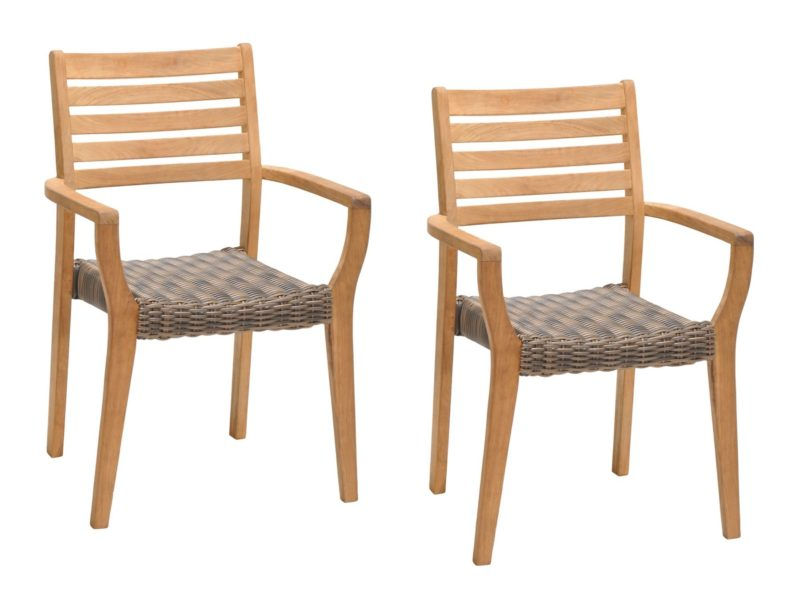 Teak garden chairs with woven rattan seats