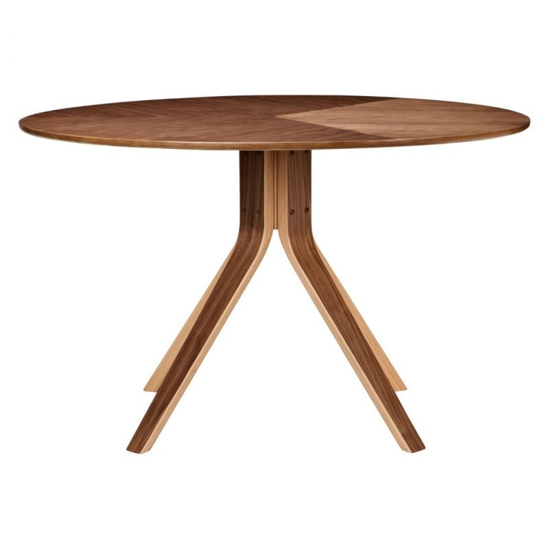 Large round dining table with walnut finish