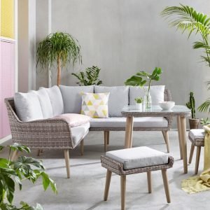 Outdoor corner sofa with 2 stools and matching table