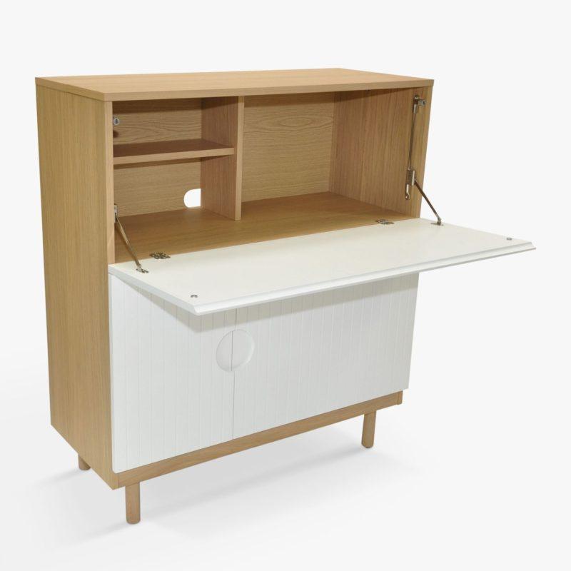 Contemporary bureau with drop down desk top