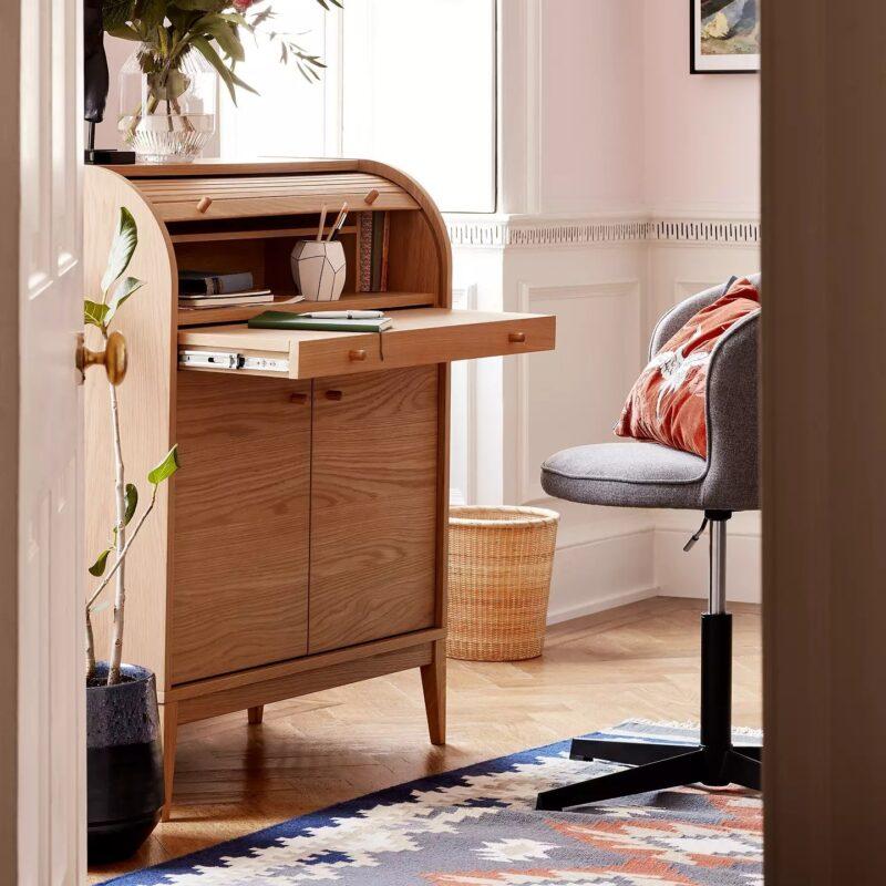 Contemporary oak bureau desk