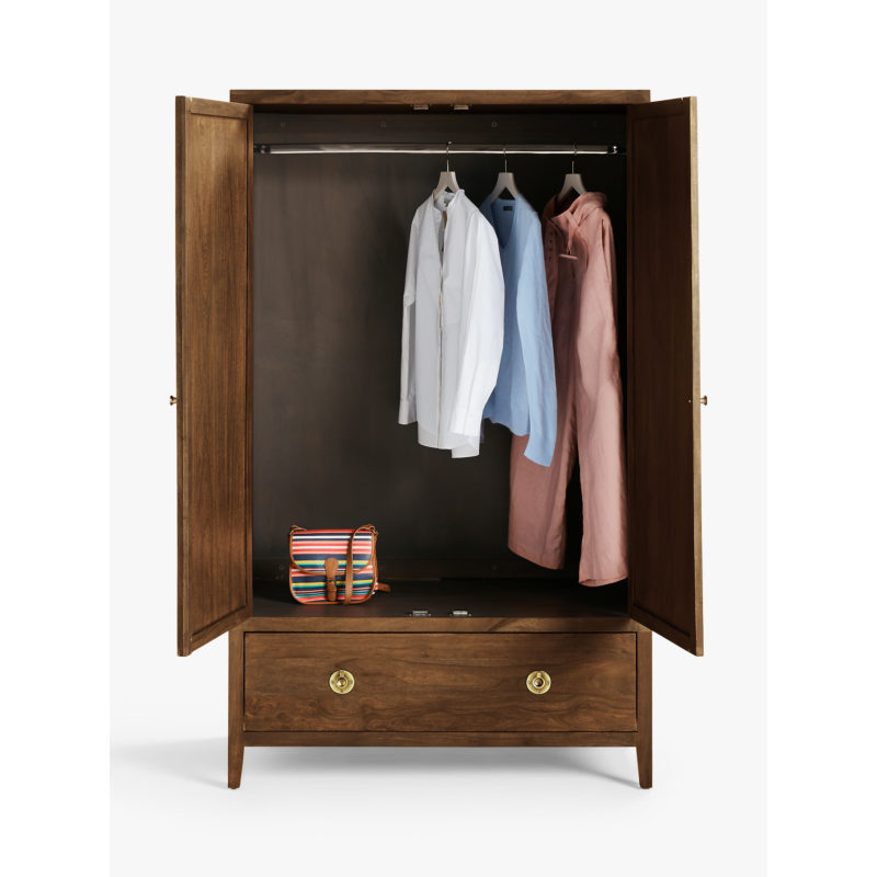 Double wardrobe with wide drawer