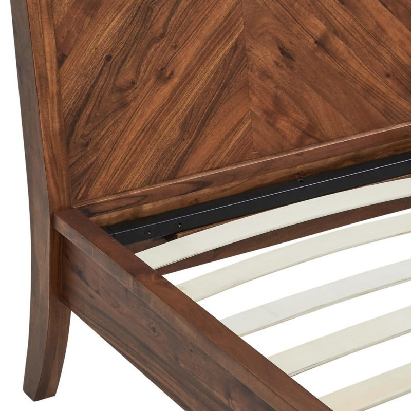 Parquet-style acacia bed frame