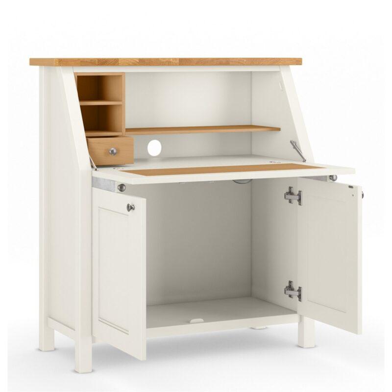 Cream/oak bureau with cupboard space and shelving