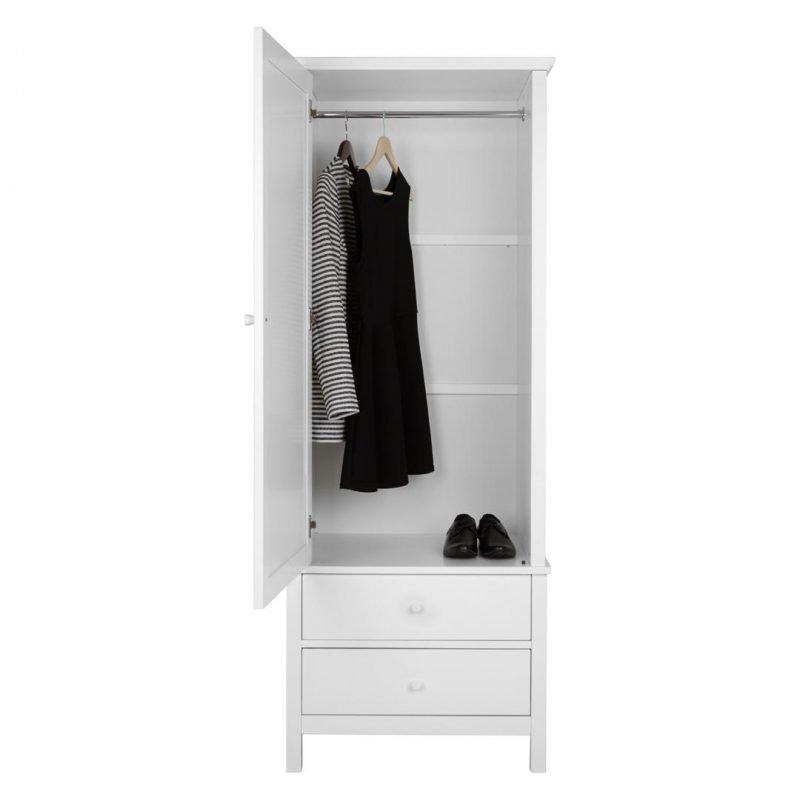 White single door wardrobe with 2 drawers