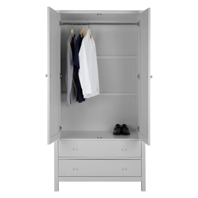 Grey double wardrobe with hanging rail and 2 drawers
