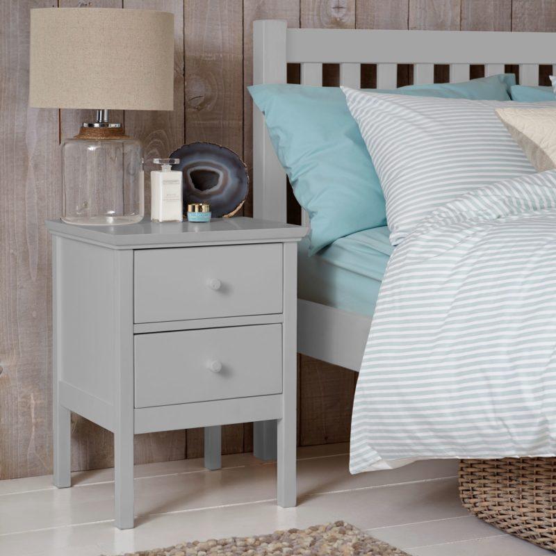 Grey-painted 2-drawer bedside cabinet