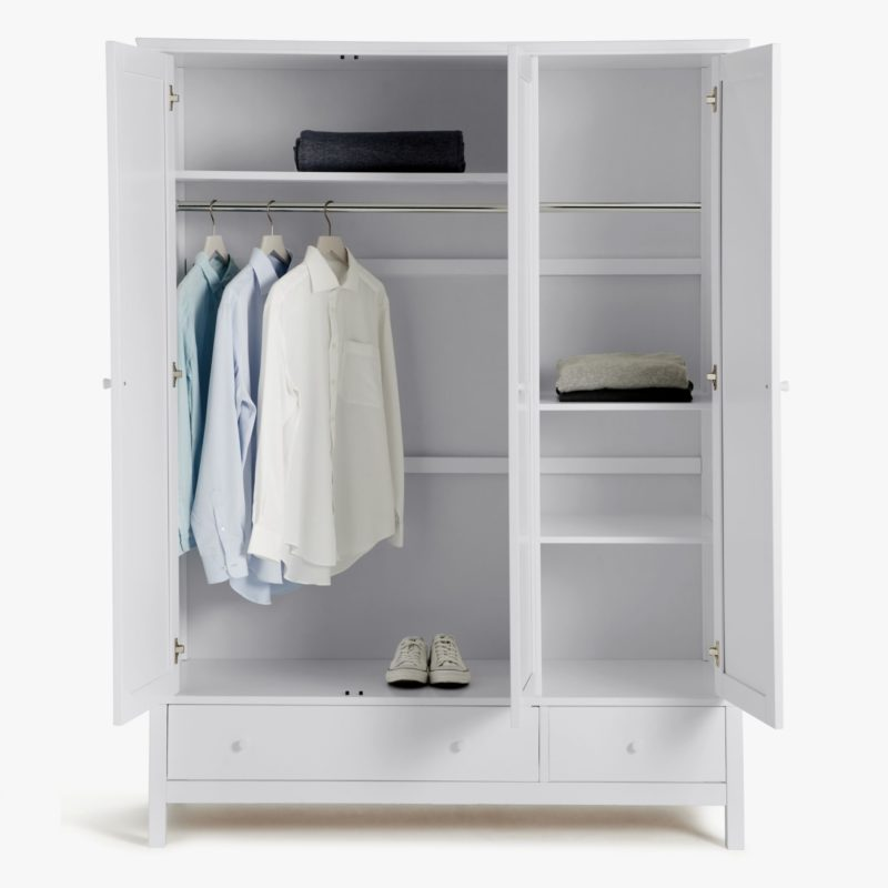 Grey 3-door wardrobe with hanging space and shelving