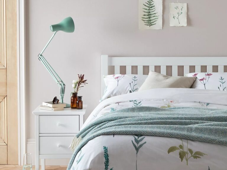 White-painted bed and matching bedside cabinet