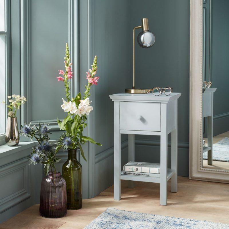 Grey painted single drawer bedside table