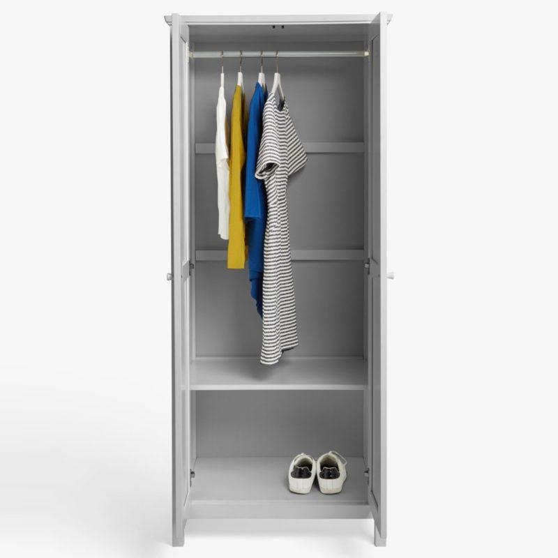 Grey wardrobe with hanging rail and shelf