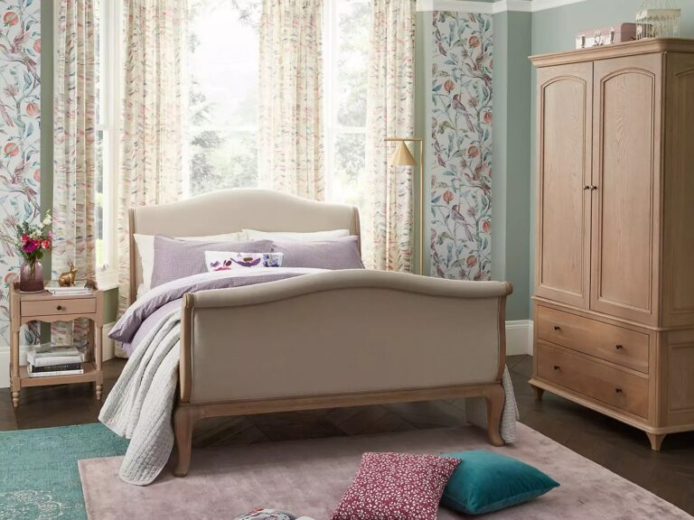 French-style wardrobe and sleigh bed