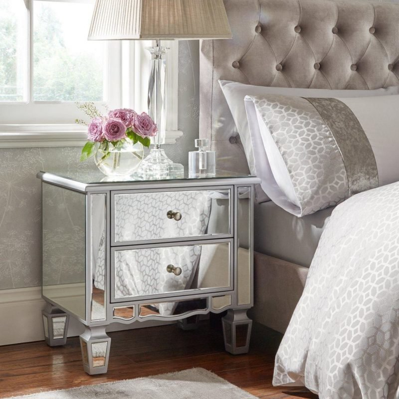 2 drawer mirrored bedside cabinet