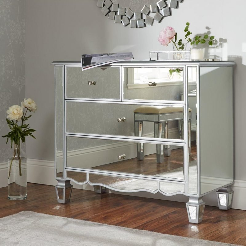 Mirrored 2 plus 2 drawer chest