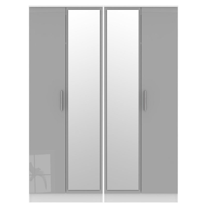Wardrobe with 2 grey gloss and 2 mirror doors