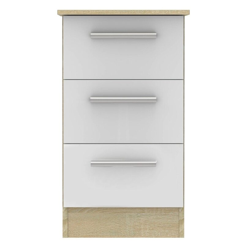 3-drawer bedside chest in white gloss and oak