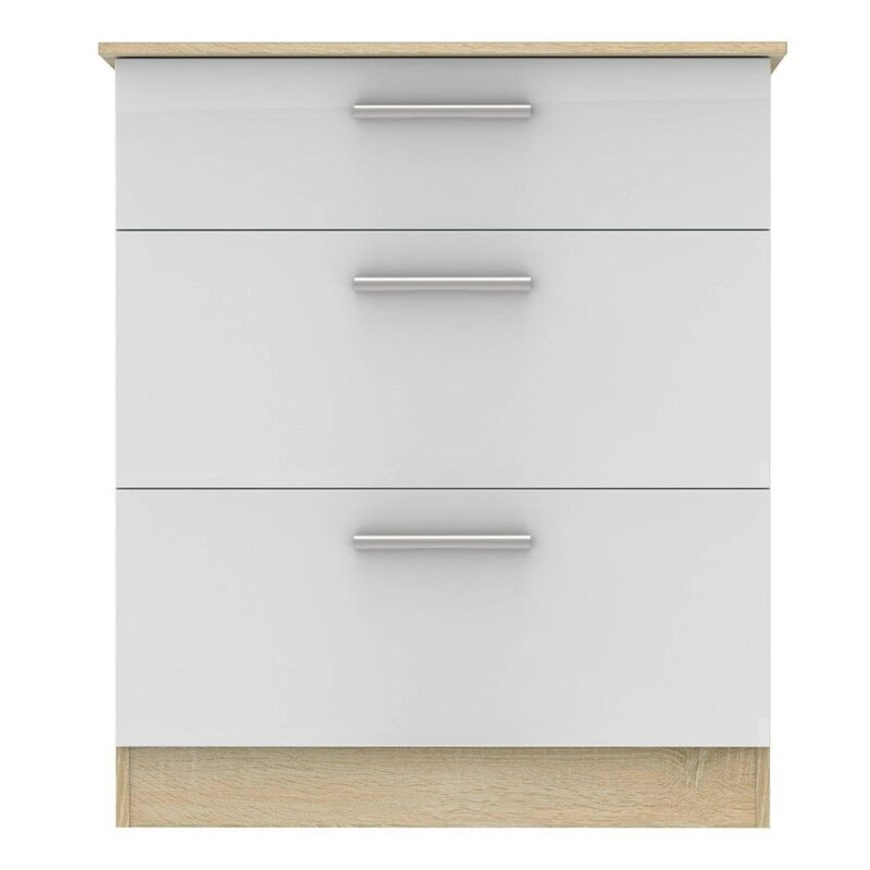Gloss white and oak 3-drawer chest