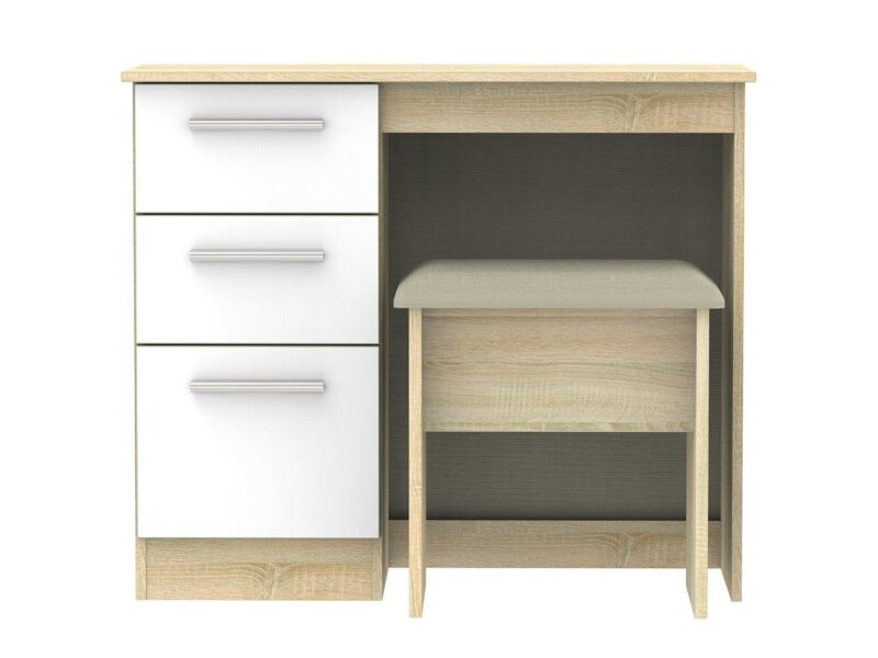 Oak and white gloss dressing table with stool