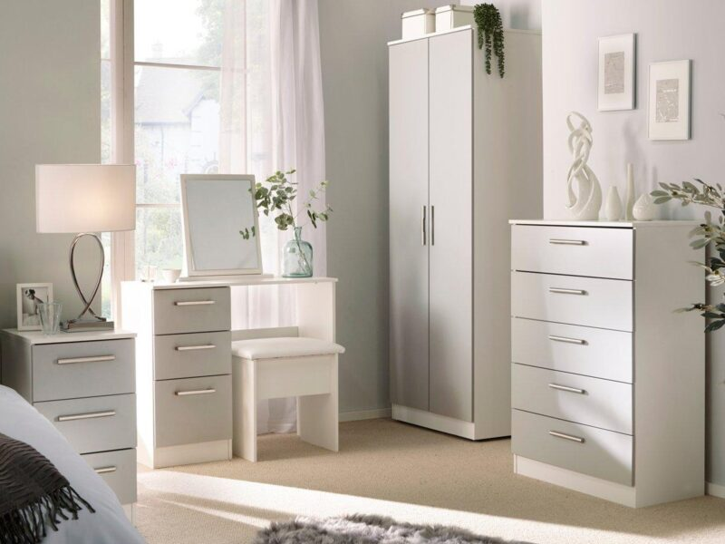 Bedroom furniture with grey gloss finish doors and drawers