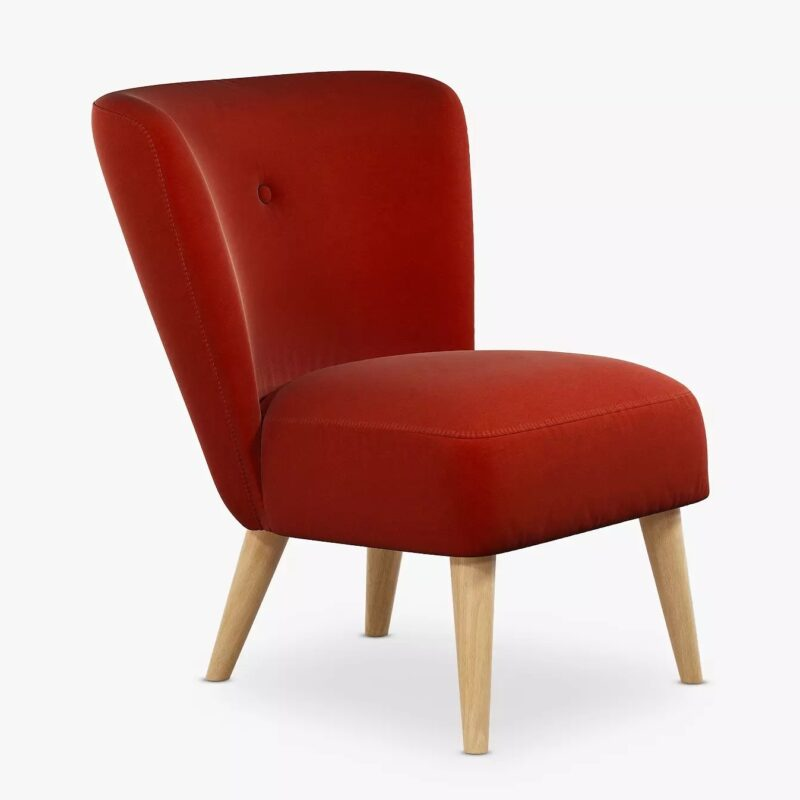 Accent chair with bold red upholstery