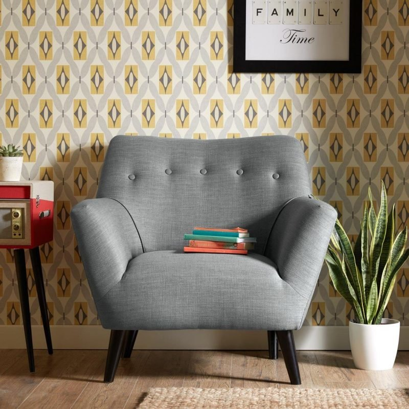 Scandi-style grey fabric armchair