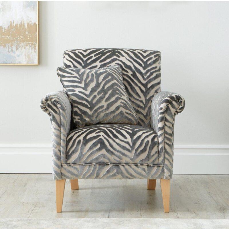 Grey animal print accent chair