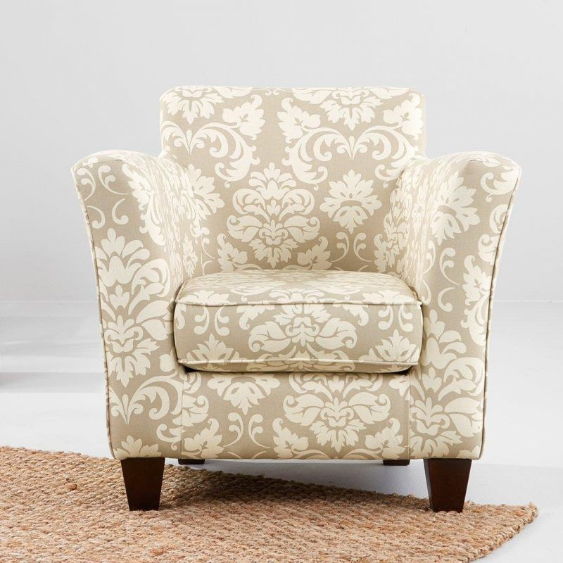 Damask fabric upholstered armchair