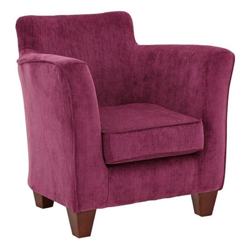 Pink fabric upholstered armchair