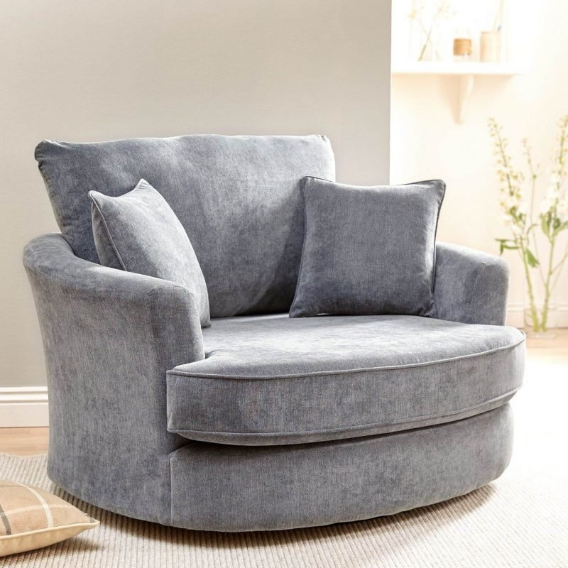 grey fabric swivel-style armchair