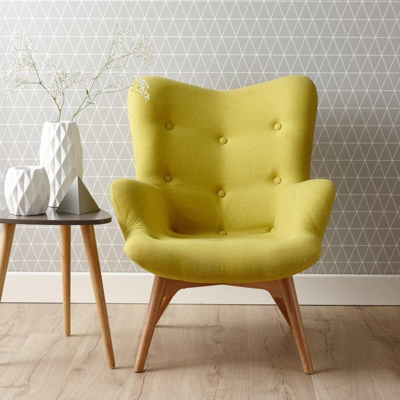 Citrus fabric armchair on wooden legs