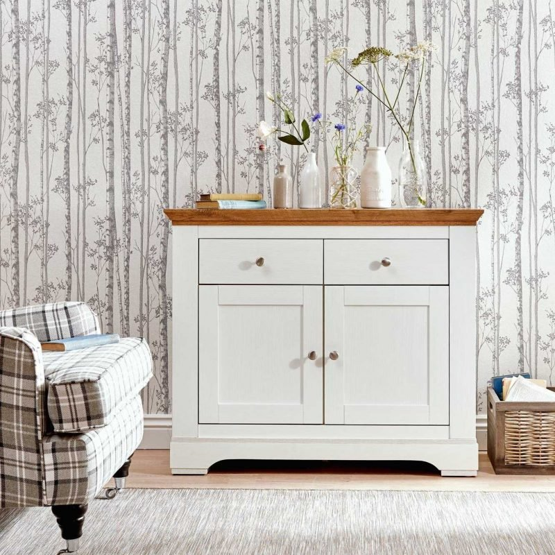Cream small sideboard with oak top