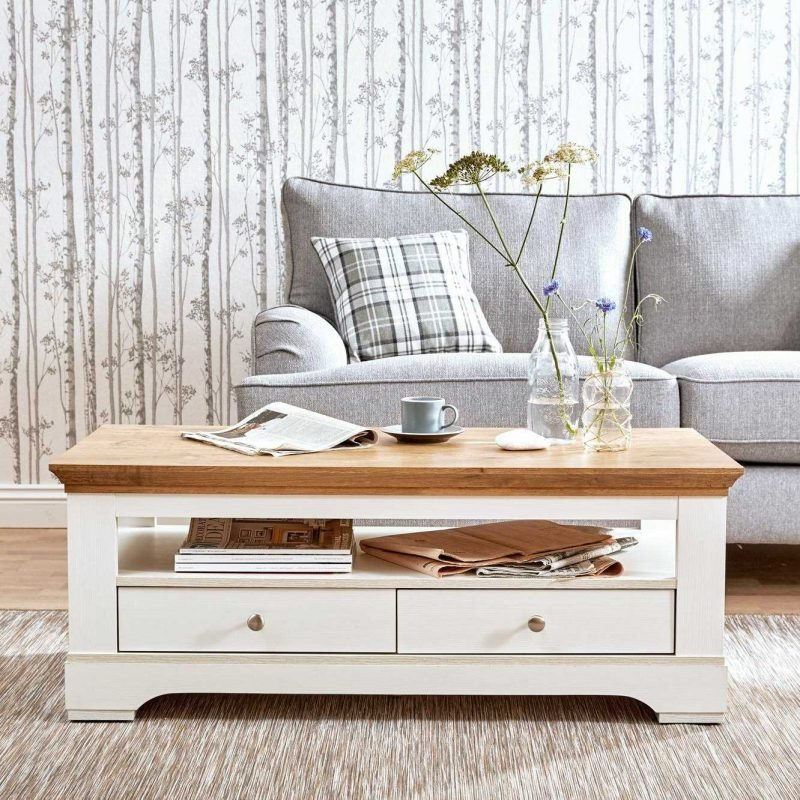 Cream and oak coffee table with 2 drawers