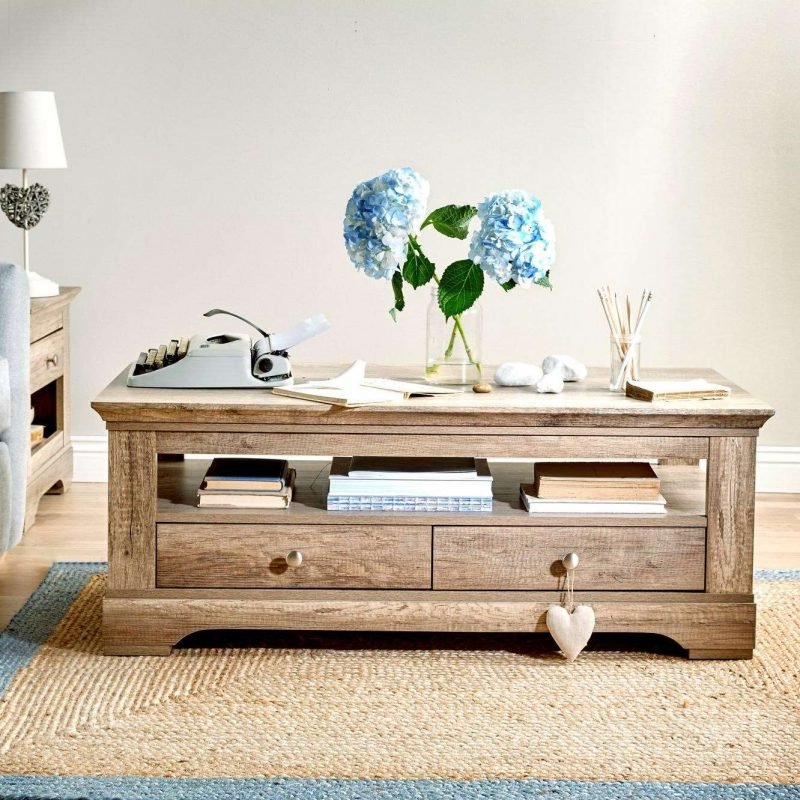Oak storage coffee table