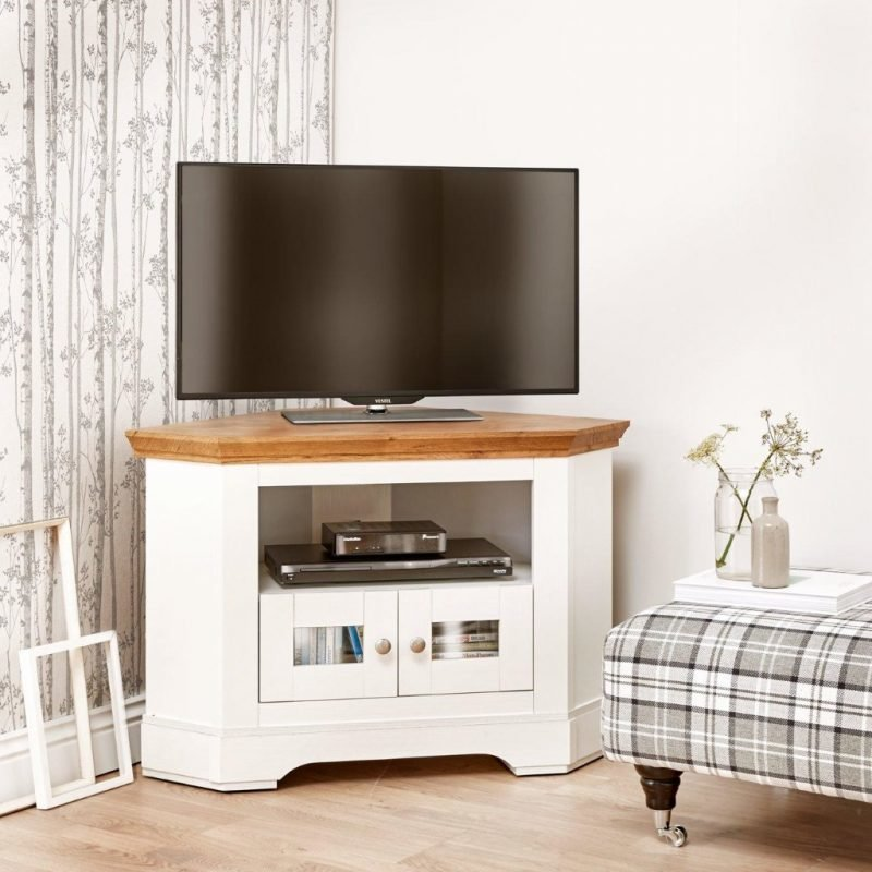 Cream and oak corner TV unit