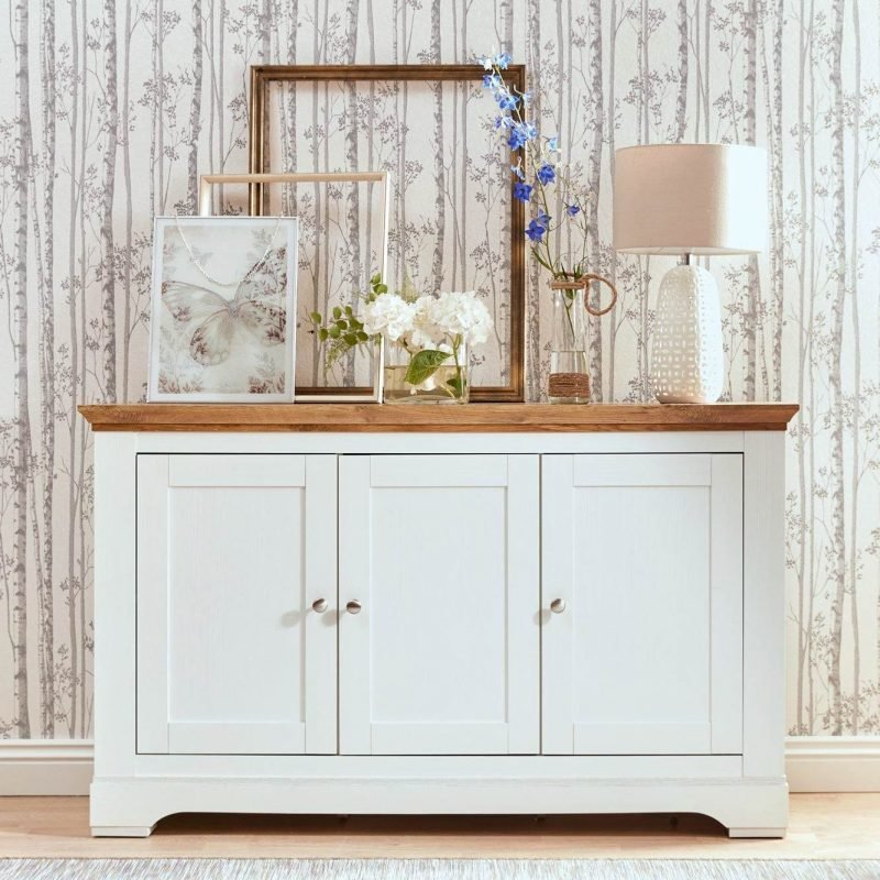 3-door sideboard with cream and oak finish