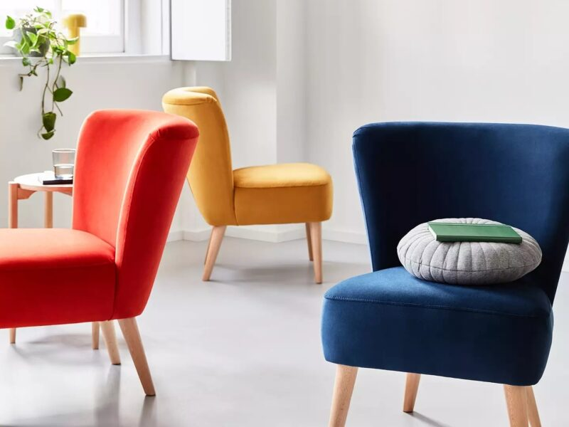 Blue red and yellow accent chairs
