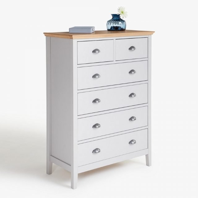 Tall painted drawer chest with oak top