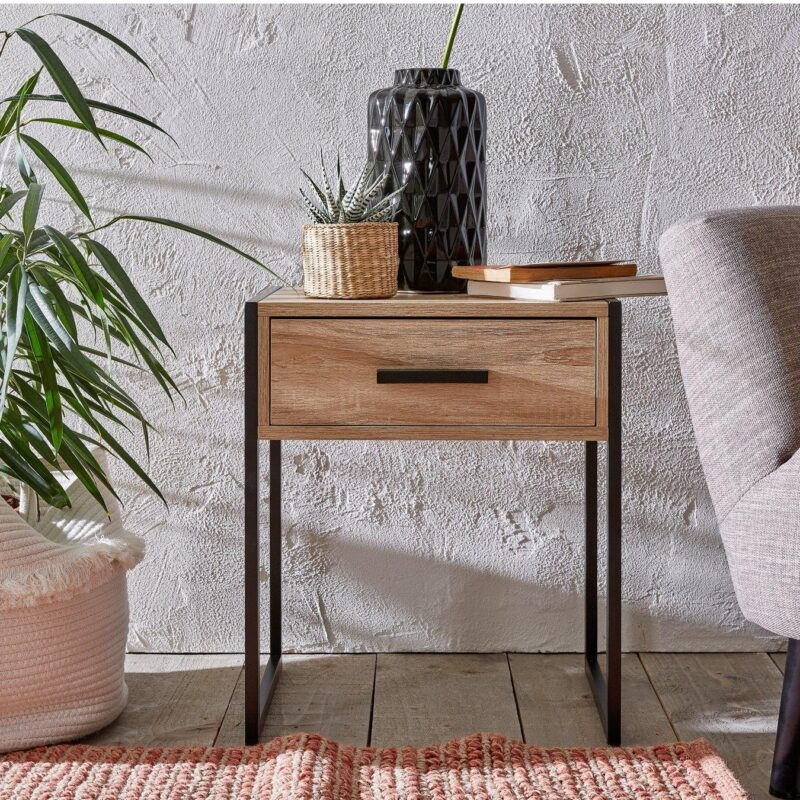 Single drawer bedside with a rustic oak finish