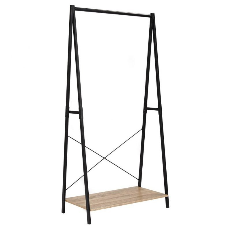 Freestanding clothes rail with wooden shelf