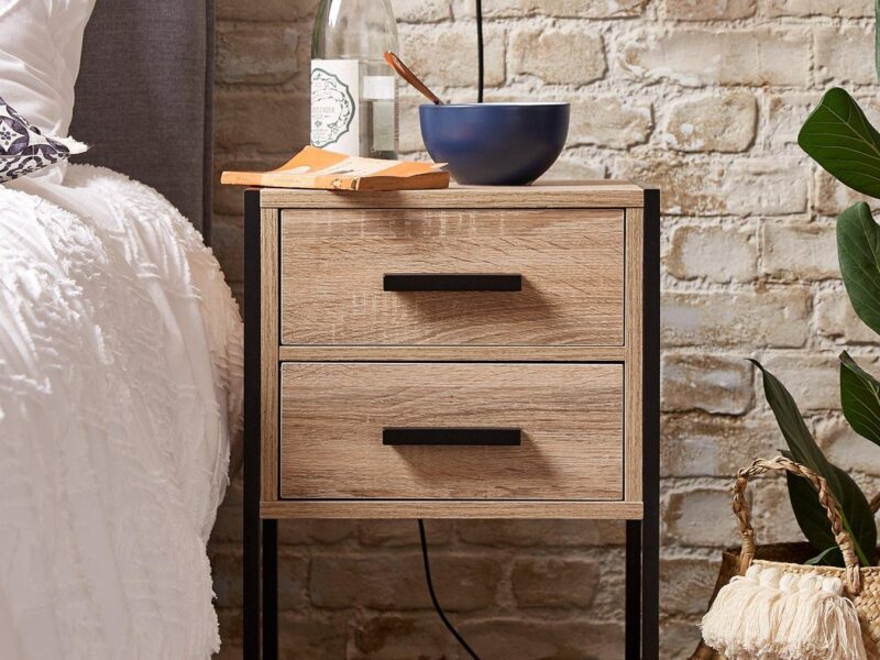 Oak woodgrain finish bedside chest with black frame and handles